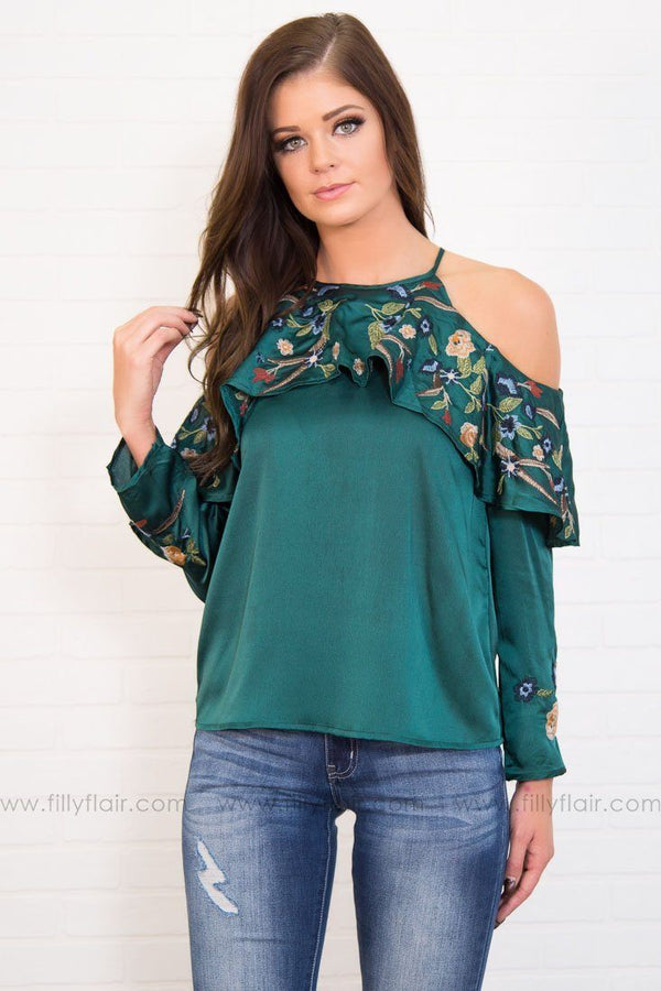Ruffled Feathers Cold Shoulder Top In Hunter Green