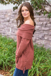 Good Together Off The Shoulder Side Lace Up Sweater In Brick - Filly Flair