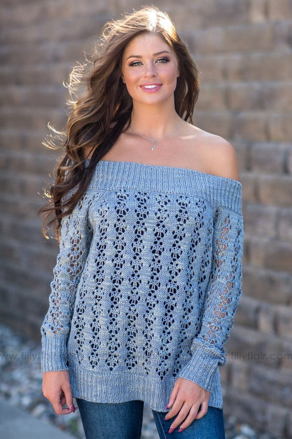 *091118 Never Ending Sky Wide Neck Open Knit Sweater In Grey - Filly Flair