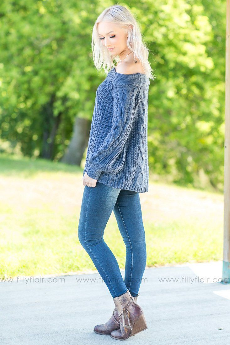 Lost Without You Off the Shoulder Sweater in Charcoal Navy - Filly Flair