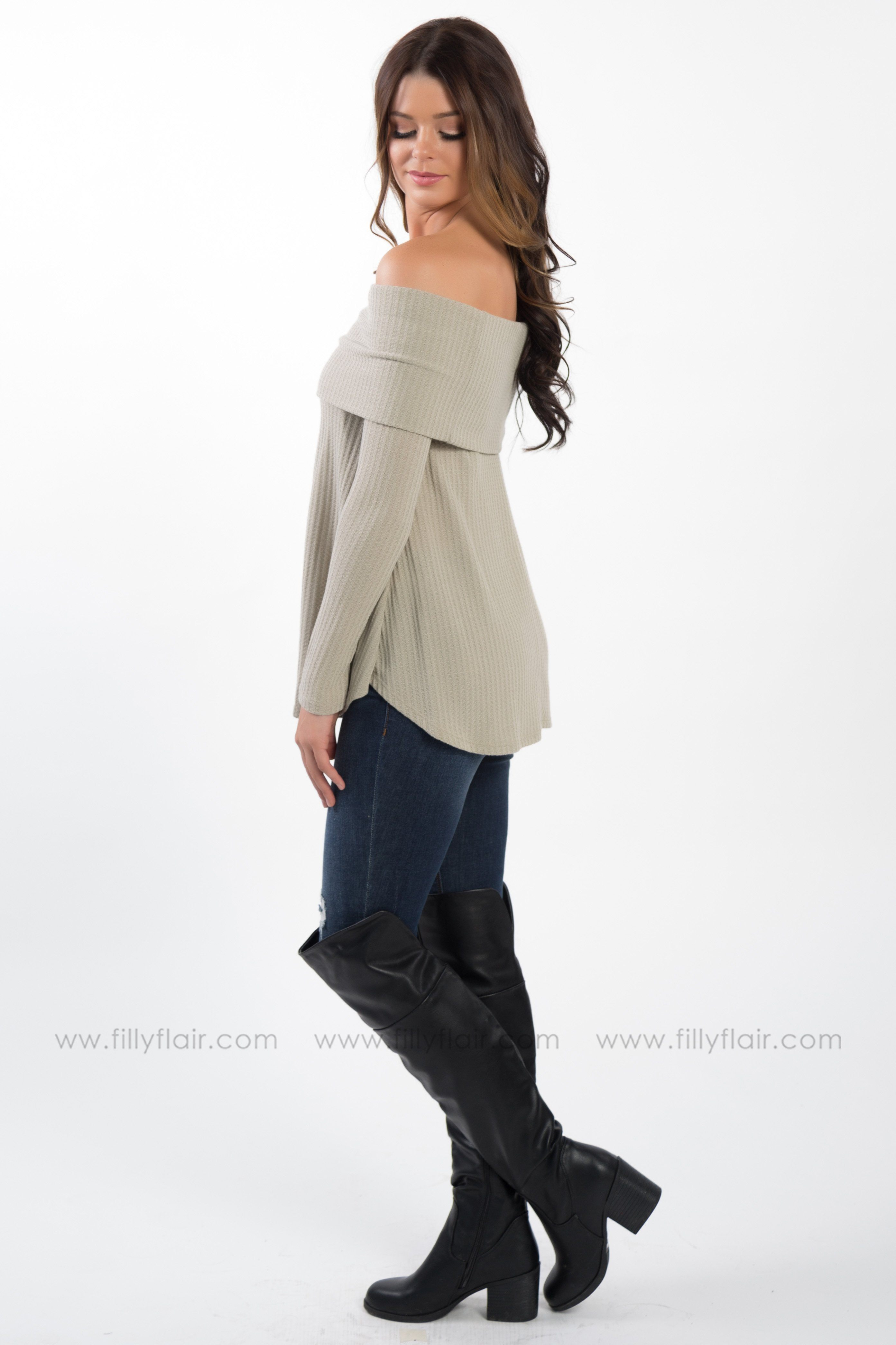 Say Hello Off The Shoulder Waffle Top in Oatmeal - Filly Flair