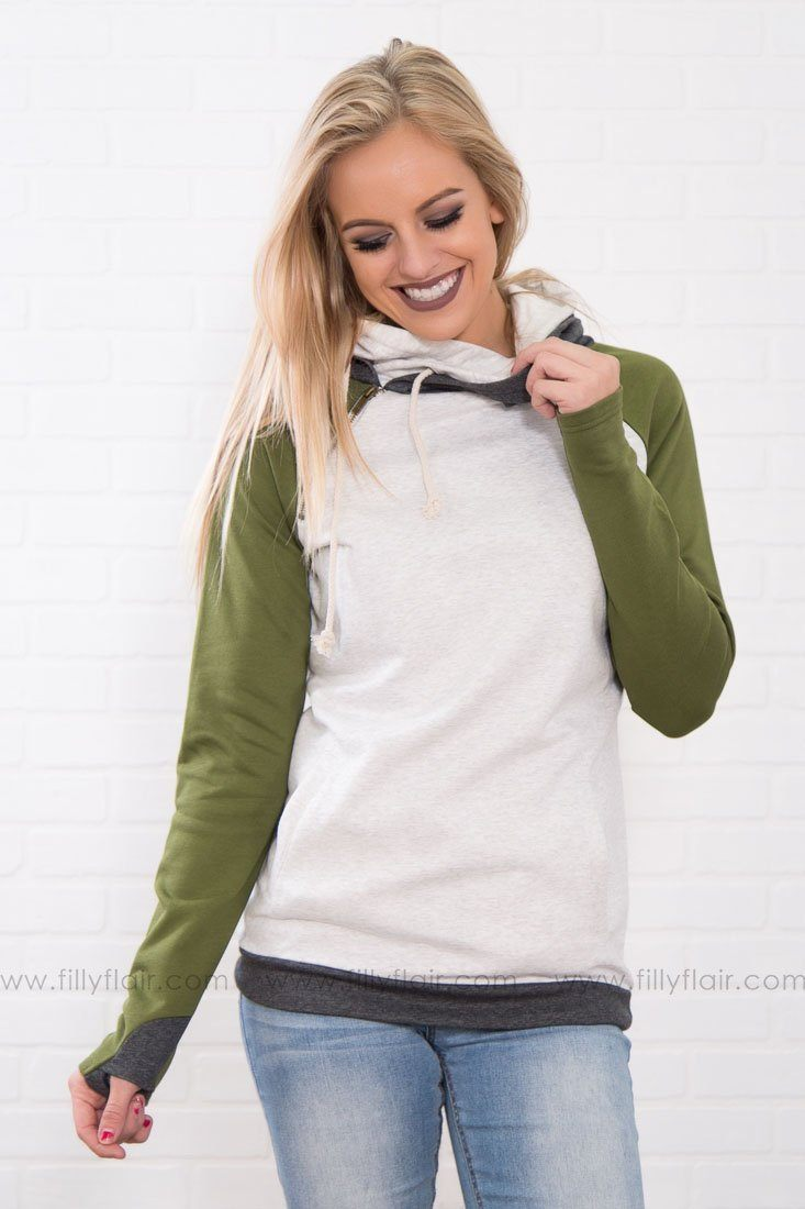 Endless Weekend Double Hooded Sweatshirt in Olive - Filly Flair