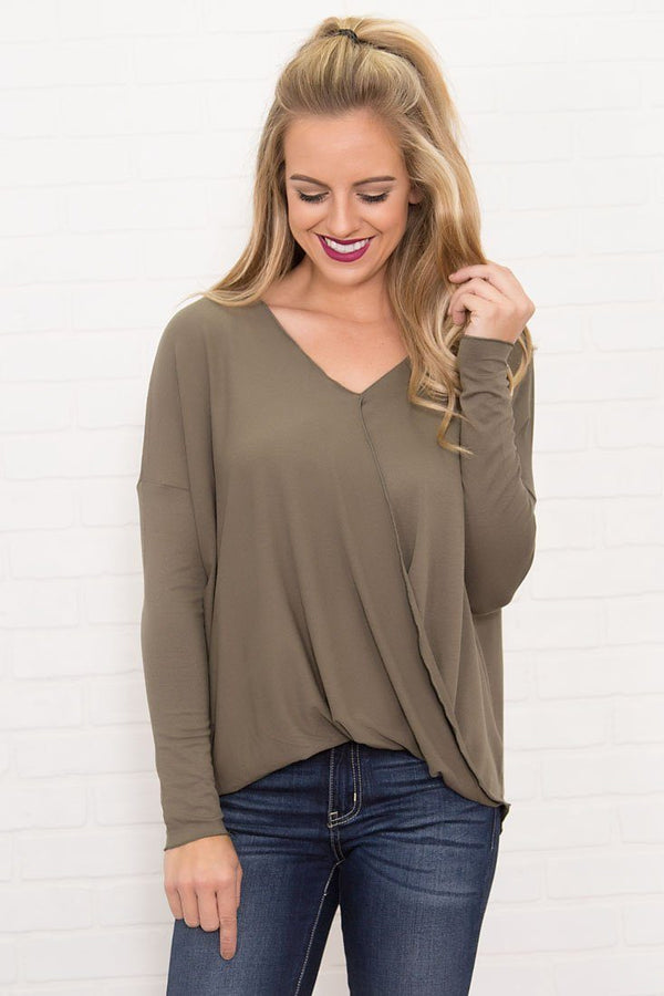 Night Out Wrap Long Sleeve Top in Olive