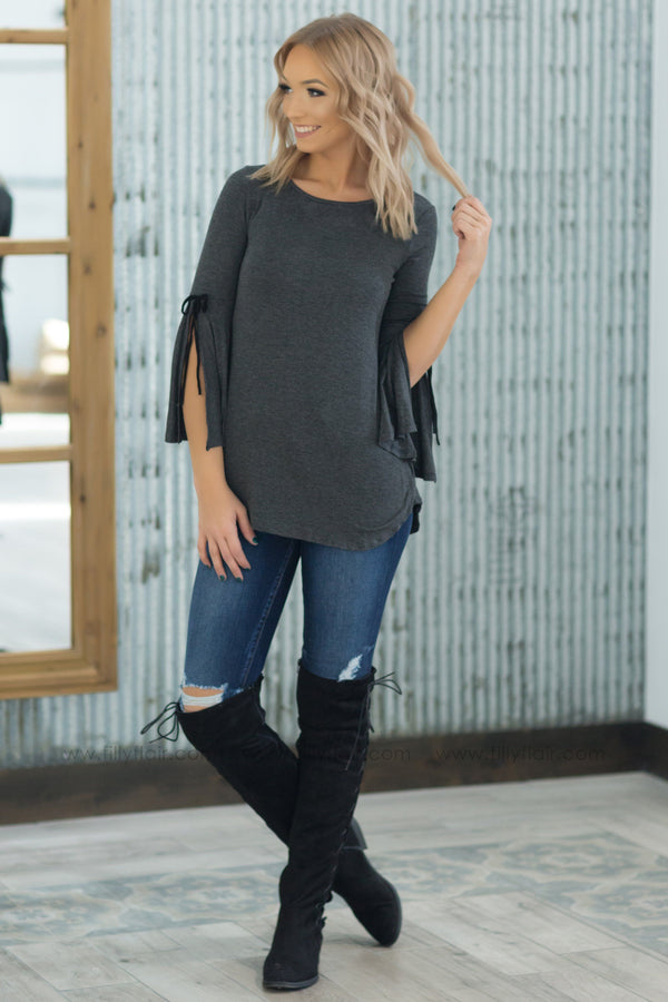 How Do I Know Tie Open Bell Sleeve Top in Charcoal - Filly Flair