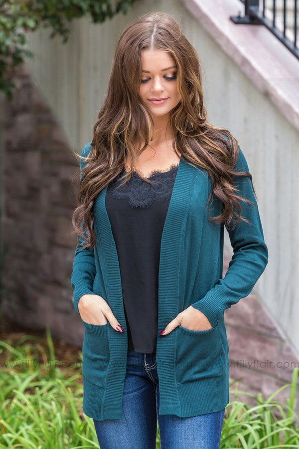 Always With You Open Short Cardigan With Pockets in Hunter Green - Filly Flair