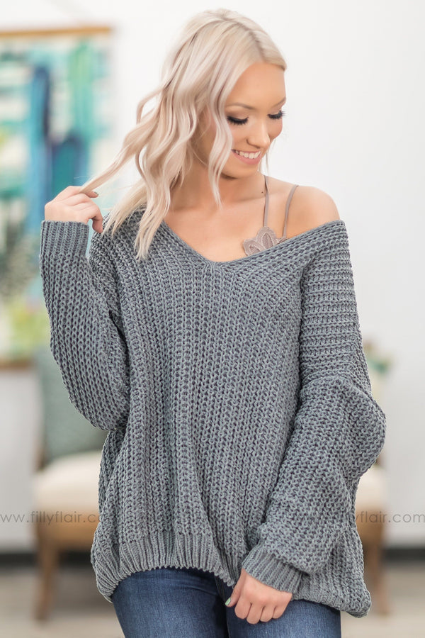 Come On Over Oversized Knit Sweater in Slate - Filly Flair