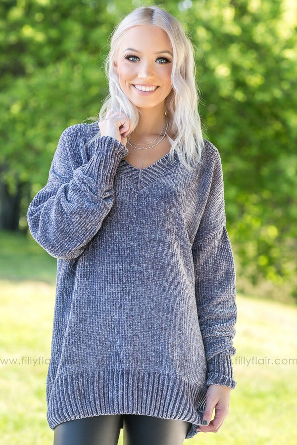 Finally Clear Grey Oversized Sweater - Filly Flair