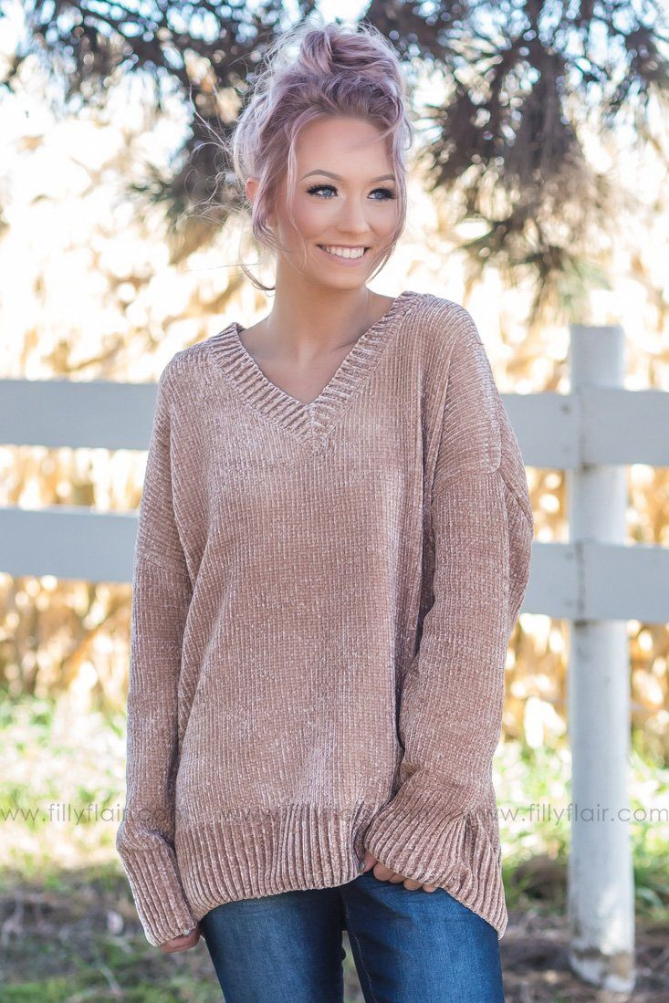 Take Care Oversized V-Neck Sweater In Mocha - Filly Flair
