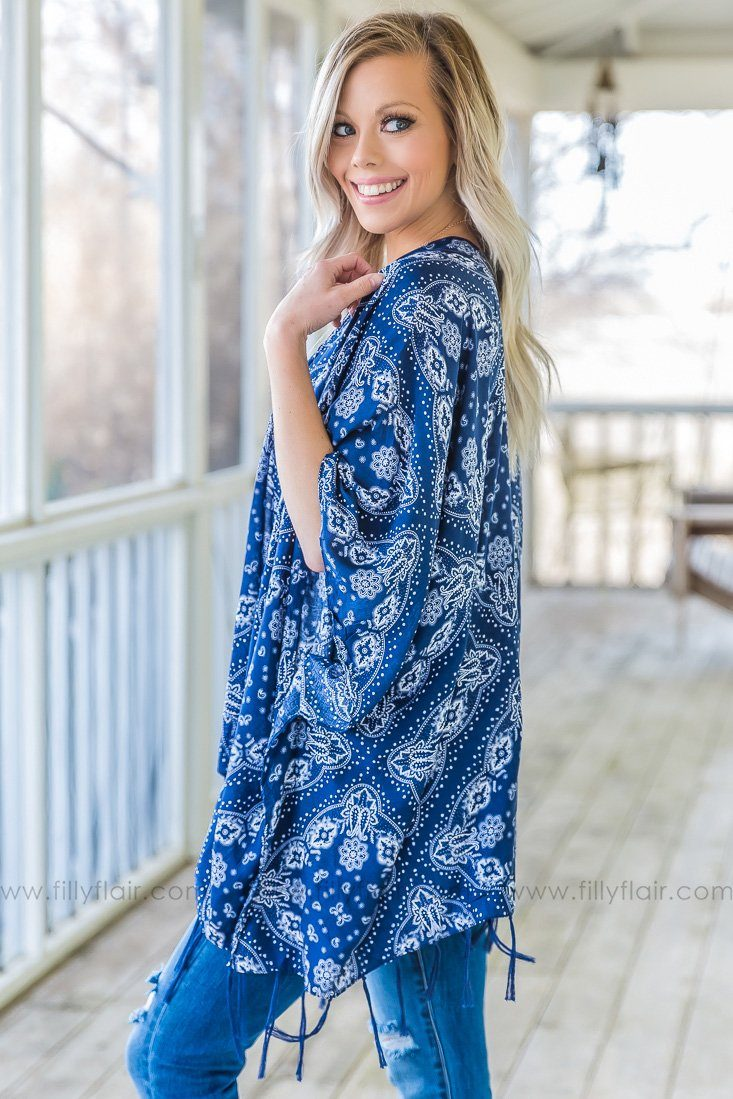 Ends With A Kiss Paisley Tassel Open Kimono In Navy - Filly Flair