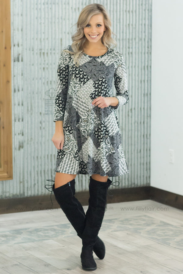 *Somewhere Down The Line 3/4 Sleeve Patchwork Dress In Black White Grey - Filly Flair