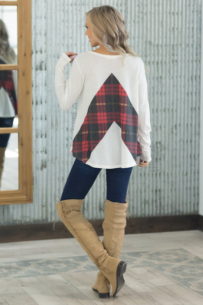 Just Like This Long Sleeve Plaid Detail Top In White - Filly Flair