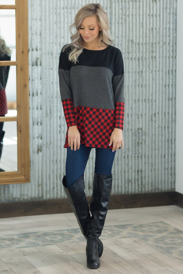 Love Me True Long Sleeve Plaid Color Block Top In Red - Filly Flair