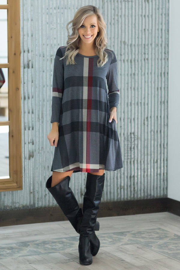 Live Each Day 3/4 Sleeve Plaid Pocket Dress in Charcoal Burgundy - Filly Flair
