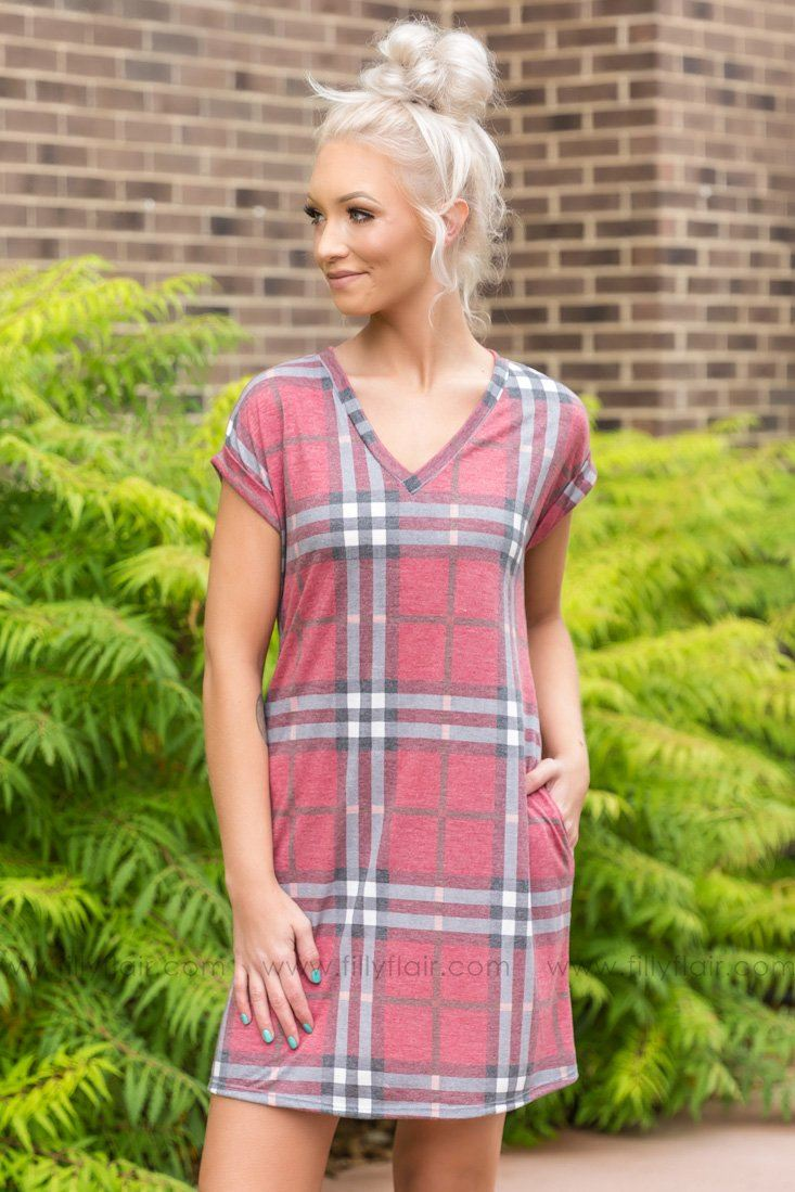 Once In Awhile Plaid Dress In Wine - Filly Flair