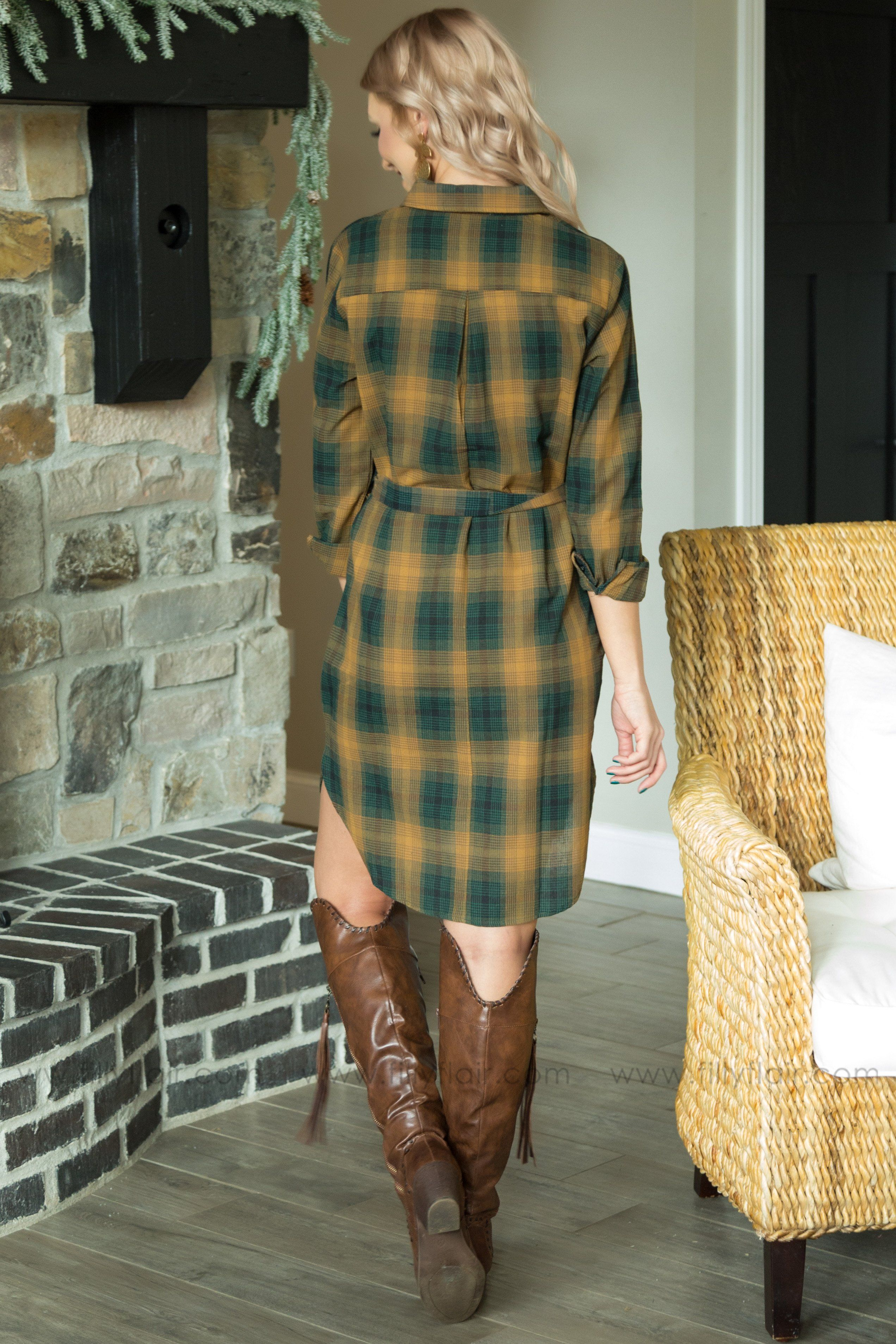 Stay Here Tonight Plaid Button Tie Dress In Green Gold - Filly Flair