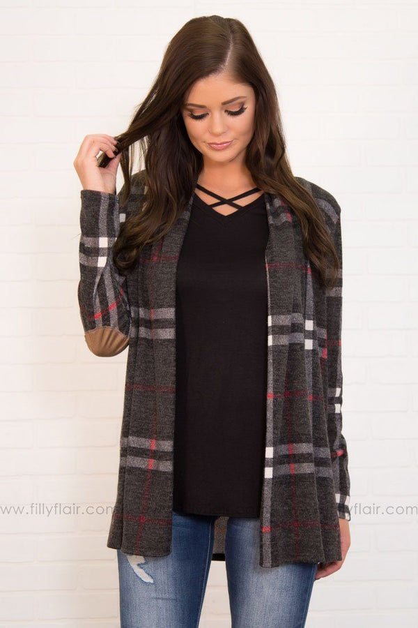 Patch Me Up Plaid Cardigan In Charcoal Black