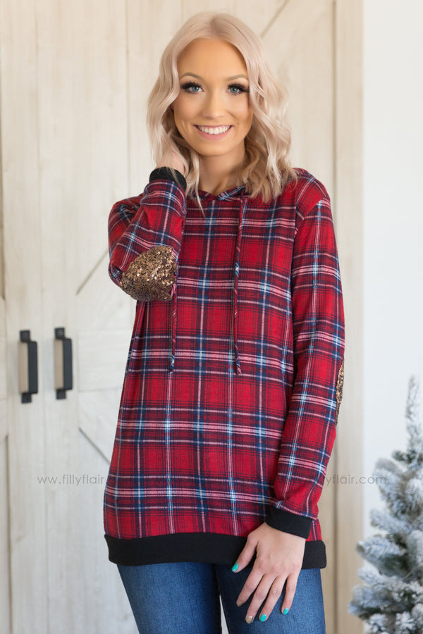 When I See You Long Sleeve Plaid Sequin Elbow Patch Hooded Top in Red