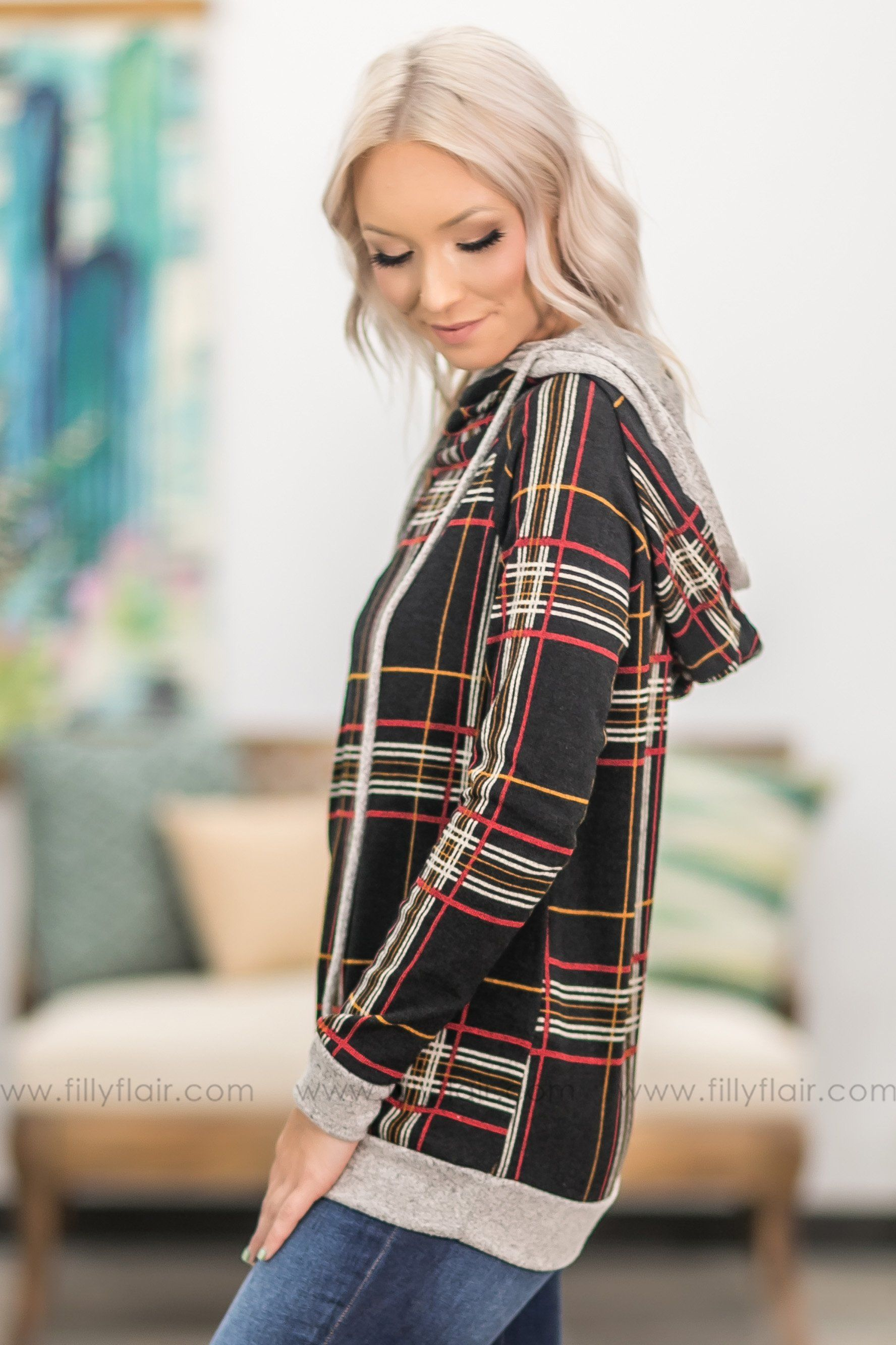 Streets of Gold Plaid Double Hooded Top in Black - Filly Flair