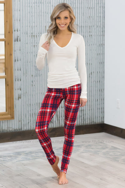 The Love of Plaid Printed Leggings in Red Blue White - Filly Flair