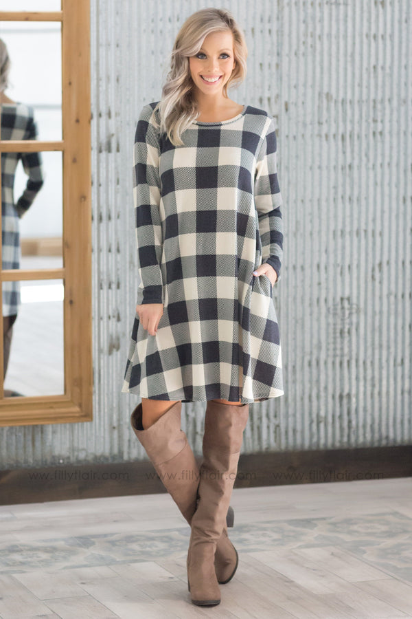 It's Timeless Long Sleeve Plaid Dress In Charcoal - Filly Flair