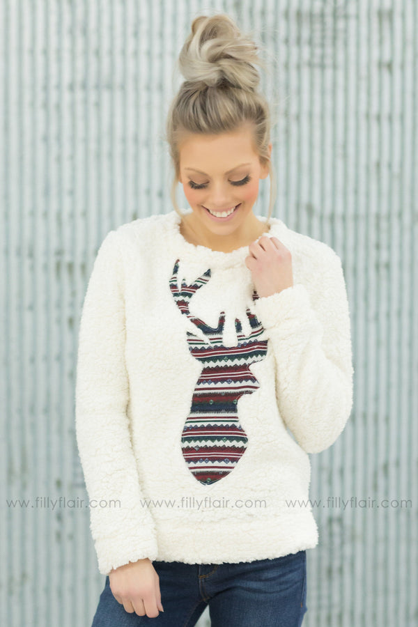 Snow Day Long Sleeve Reindeer Sherpa Sweater in Ivory - Filly Flair