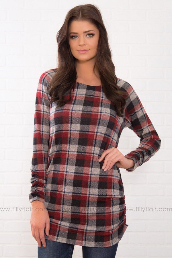 Mad For Plaid Tunic In Burgundy