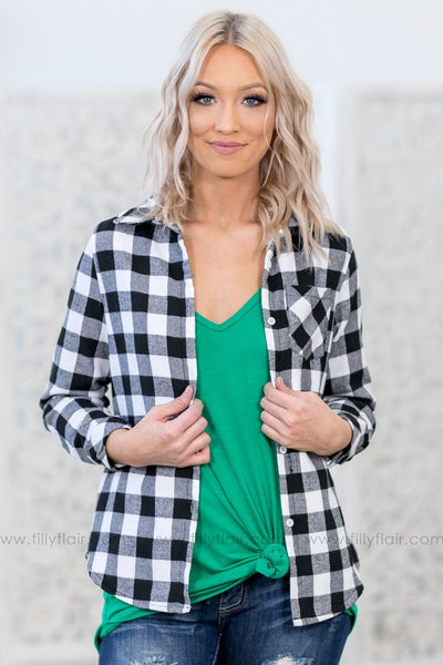 Can't Say No Gingham Check Button Up Sherpa Lined Top in Black White - Filly Flair