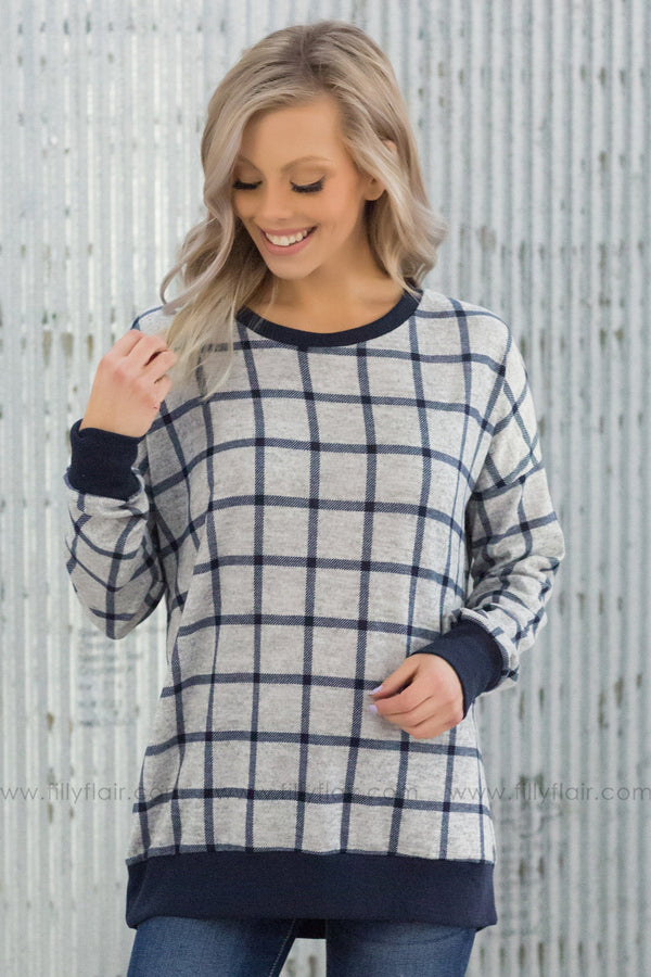 All of a Sudden Long Sleeve Printed Sweater in Navy Grey - Filly Flair