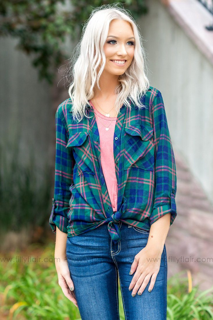 Didn't Get Far Long Sleeve Plaid Top In Emerald - Filly Flair