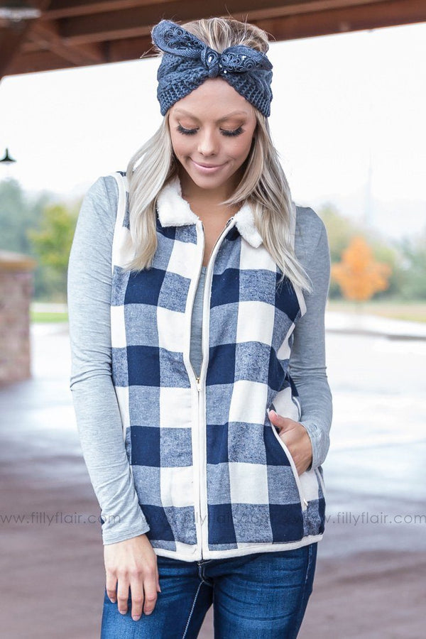 Northern Plains Plaid Vest in Navy - Filly Flair