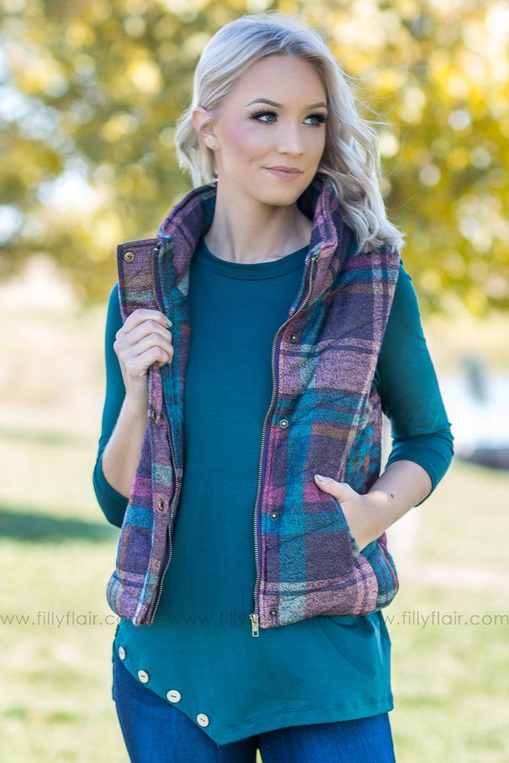 November Feels Plaid Vest in Teal Plum - Filly Flair