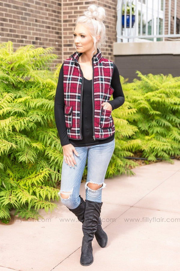Bundle Up Plaid Vest in Burgundy - Filly Flair