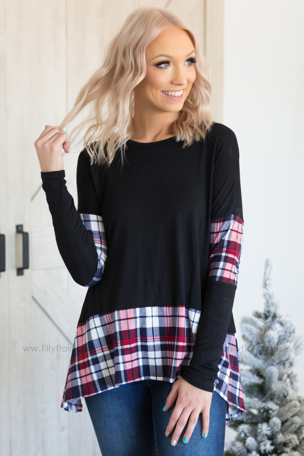 Right Where I Want To Be Long Sleeve Plaid Detail Top in Black
