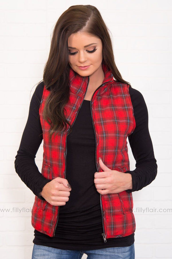 I'm Invested Plaid Vest In Red Black