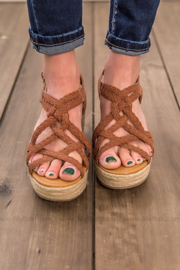 A Better Beach Braided Suede Wedge Sandal In Cinnamon