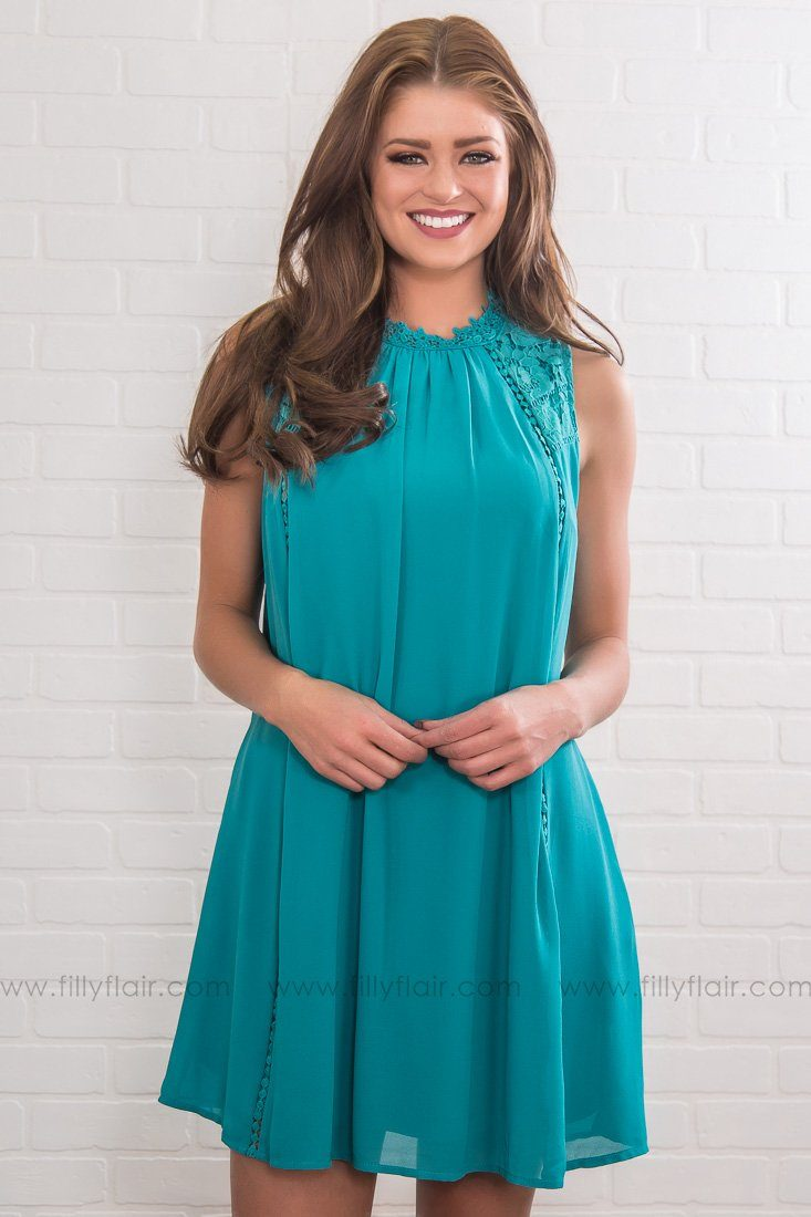 Dream On Lace Sleeveless Dress In Teal