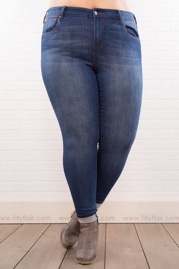 Plus Size Medium Wash Skinny Jeans - Filly Flair