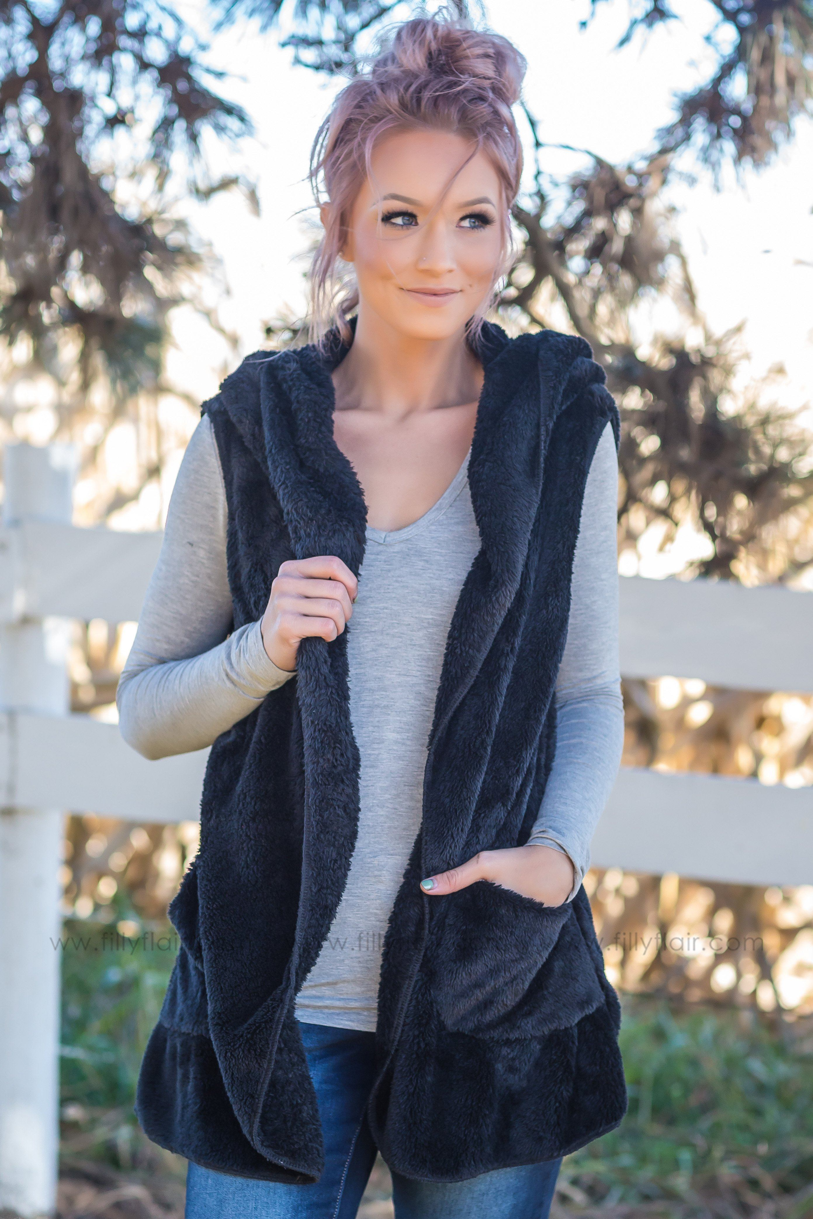 Outdoor Adventure Hooded Faux Fur Vest in Black - Filly Flair