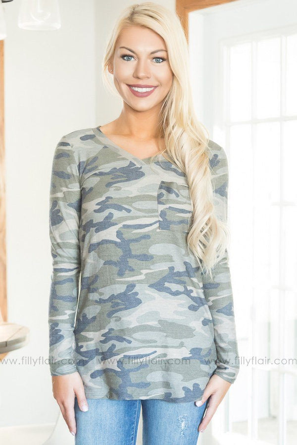 A Little Country Long Sleeve Pocket Top In Camo