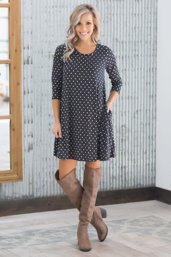 Right On Time 3/4 Sleeve Polka Dot Dress in Charcoal - Filly Flair