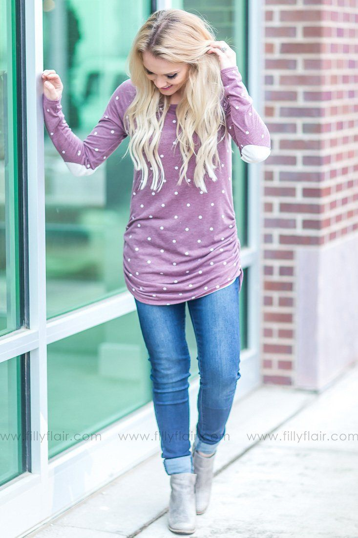 Sweet Little Somethin' Polka Dot Ruched Tunic In Purple