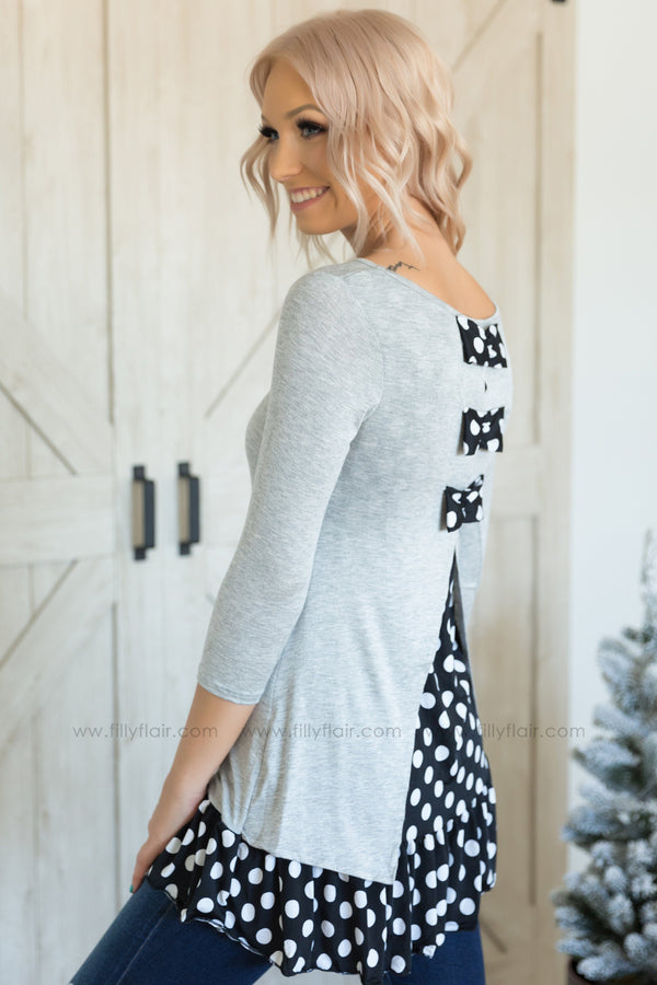 Keep On Going 3/4 Sleeve Black White Polka Dot Ruffle Hem Tunic in Grey - Filly Flair