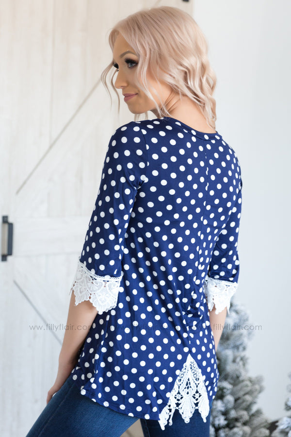 What A Feeling 3/4 Lace Sleeve Polka Dot Top in Navy - Filly Flair
