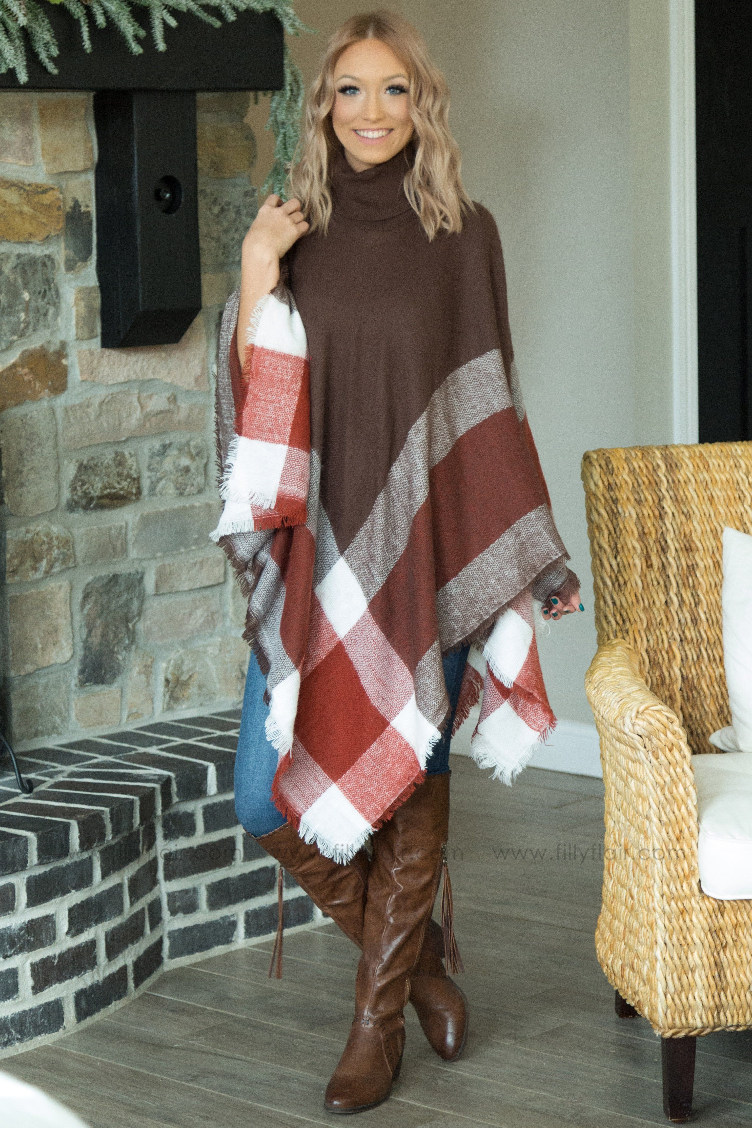 Living The Dream Turtle Neck Plaid Poncho In Brown - Filly Flair