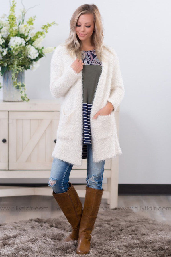 *All I Know Long Sleeve Pocket Cardigan in Ivory* - Filly Flair