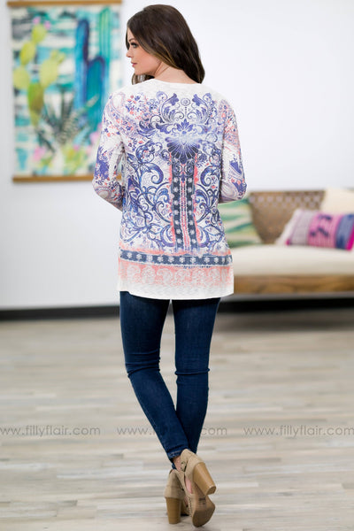 Better As We Go Long Sleeve Printed Ribbed Cardigan in Cream - Filly Flair