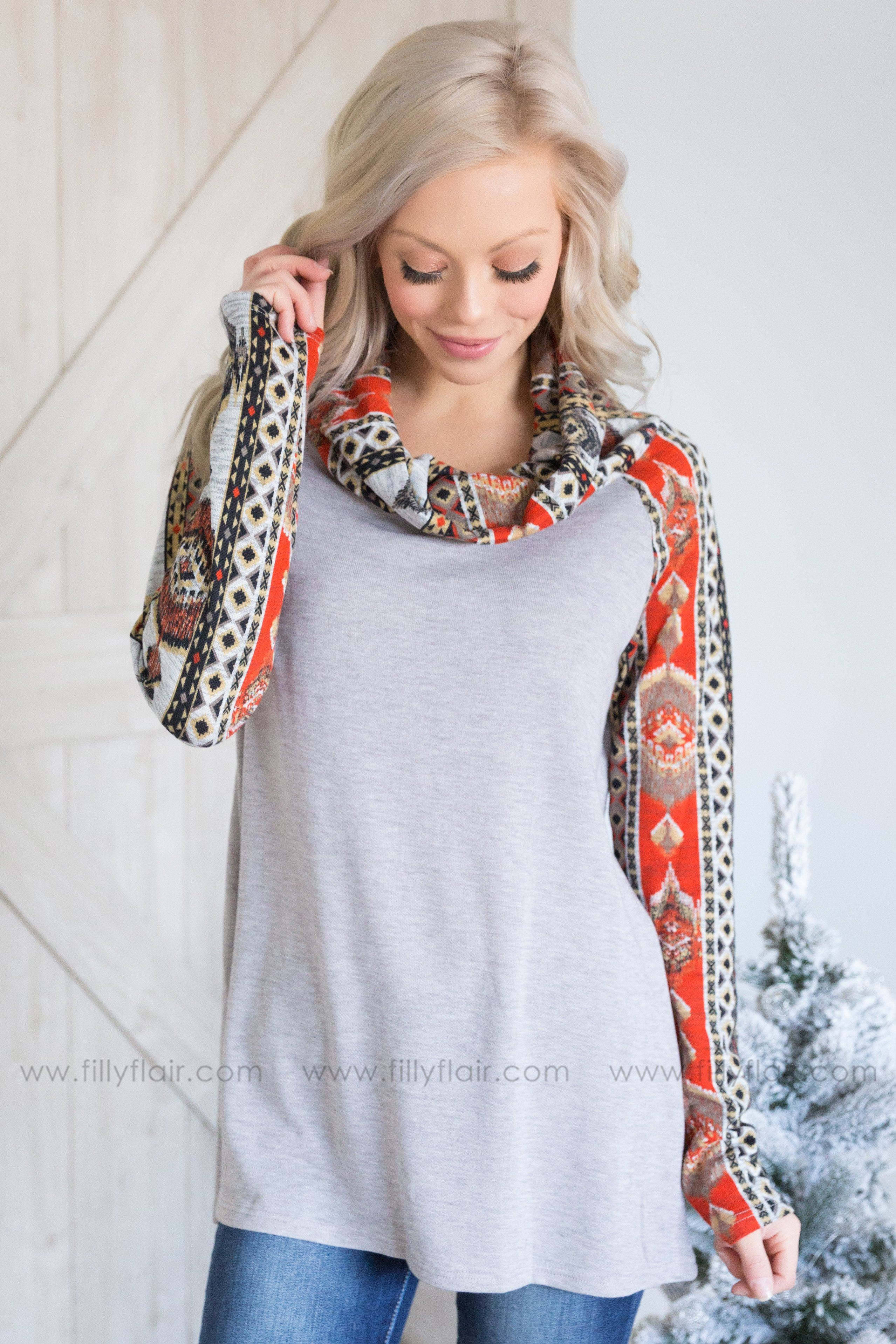 Aztec Queen Long Sleeve Cowl Neck Top in Heather Grey - Filly Flair