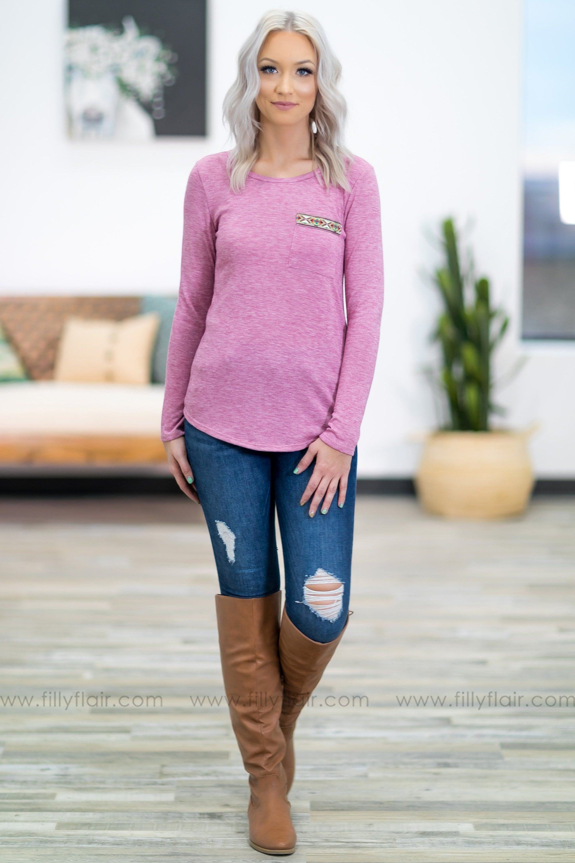 4ff9c9fd11dd04 Always On Time Long Sleeve Aztec Trim Pocket Top in Dusty Rose - Filly Flair