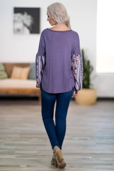 Where I'm Gonna Stay Long Sleeve Waffle Top in Dusty Lilac - Filly Flair