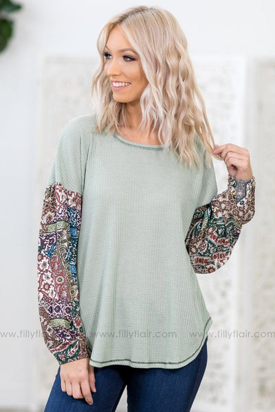 Make Me Feel Printed Long Bishop Sleeve Waffle Top in Sage - Filly Flair